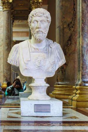 architect: PARIS, FRANCE - SEPTEMBER 11, 2015: Caesar roman emperor statue in Louvre museum