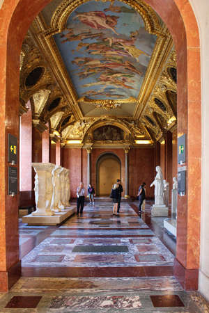 architect: PARIS, FRANCE - SEPTEMBER 11, 2015: Louvre museum with painted walls