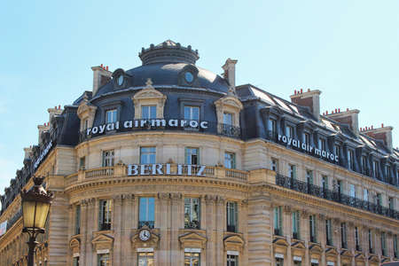 PARIS, FRANCE - SEPTEMBER 10, 2015: Berlitz hotel building, front view and street
