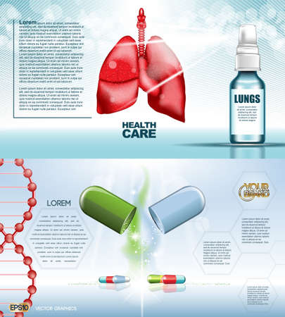 Digital vector red medicine lungs structure infographics of respiratory healthcare mockup and pills, with your brand, ready for print ads or magazine design. White and shine, realistic 3d style