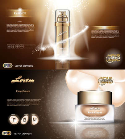 hydrate: Digital vector golden glass bottle spray essence and creammockup on brown background, with your brand, ready for print ads or magazine design. Transparent and shine, realistic 3d style