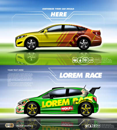 Digital vector yellow red and green sedan sport car mockup, ready for print or magazine design. Your brand, customize your decals. Blue and green background. Transparent, realistic 3d, reflection