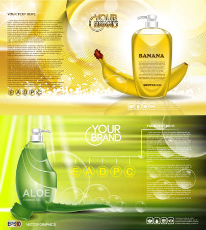 Digital vector green and yellow shower gel cosmetic container mockup, your brand, ready for print ads design. Banana fruit, aloe vera and soap bubbles. Transparent, shine, realistic, 3d, reflection