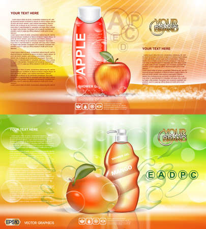 Digital vector red and orange shower gel cosmetic container mockup, your brand, ready for print ads design. Apple fruits and mango soap bubbles. Transparent, shine, realistic, 3d, reflection
