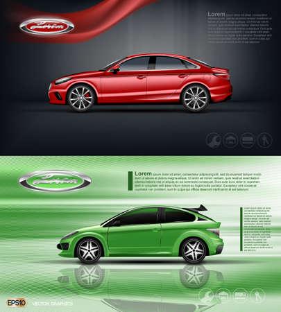 デジタル ベクトル赤と緑モデル黒 windows モックアップでセダン車、ブランド、印刷媒体の広告や雑誌のデザインのための準備。リボンと暗い背景。 写真素材