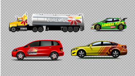 Digital vector yellow red and green sedan sport cars mockup, van and fuel tank truck. Your brand. Isolated. Transparent, realistic 3d, reflection