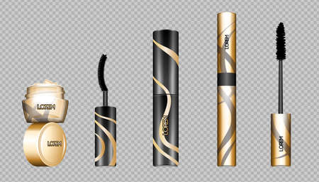 Digital vector eye care cream, eyelash applicator and mascara brush cosmetic container set mockup collection, package, magazine design. Transparent and shine template, realistic 3d style Illustration