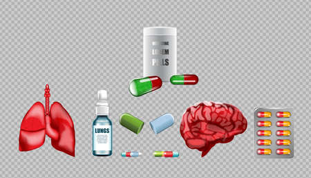cerebral artery: Digital vector red medicine lungs structure and brain infographics of respiratory healthcare mockup and pills container, with your brand, ads or magazine design. White and shine, realistic 3d style