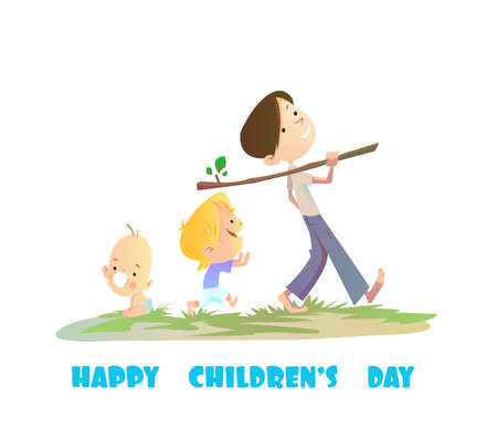 Digital vector happy children day card, baby boy and small kids walking Stock Photo