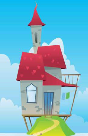 Digital vector, fairytale and fantasy castle with red roof built on a green hill, dark blue sky with white clouds, flat style Stock Photo