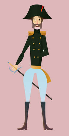 Digital vector, french napoleonic soldier character for infographics with sword, moustache and hat, flat style, pink background