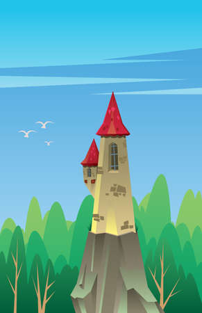 Digital vector, fairytale and fantasy castle with red roof built on a rock in the green forest, dark blue sky with white birds, flat style