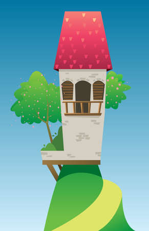 Digital vector, fairytale and fantasy castle with red roof built on a green hill with trees, dark blue sky with white clouds, flat style