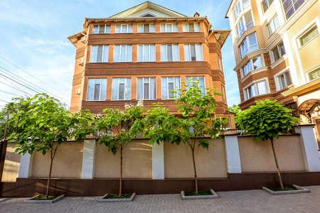 Apartment house building at zaikin street in chisinau centre, blue sky at sunset, moldova Stock Photo