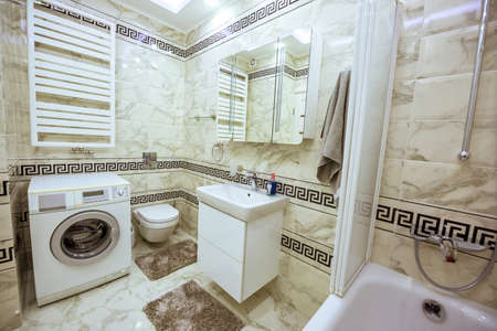 Merveilleux Stock Photo   White And Black Small Bathroom With Washing Machine, Bathtub  And Mirror In Chisinau, Moldova