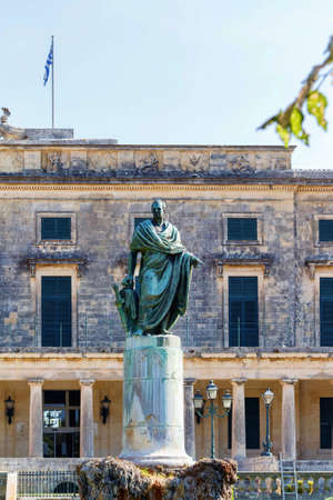 adams: General Sir Frederick Adams statue in front of the Museum of Asian Art, Corfu Town, Greece
