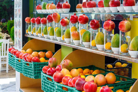 City marketplace with delicious fresh fruits for sale. Greece, Corfu. Daylight photo Stock Photo