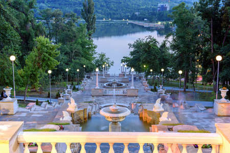 Beautiful sunset view in Valea Morilor park in Chisinau, Moldova. Waterfall stairs