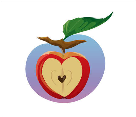 cutouts: Digital vector funny cartoon growing red apple with seeds, section in shape of heart cut, green leaf, abstract flat style