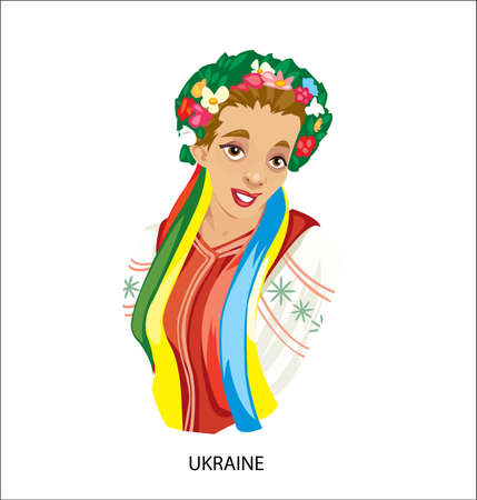 Digital vector funny cartoon smiling ukraine woman in national dress, flowers in hair, abstract flat style