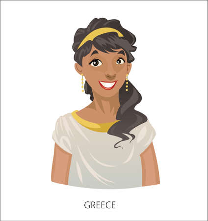 Digital vector funny cartoon smiling greek woman in national dress, black curled hair, abstract flat style