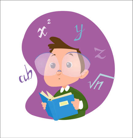 Digital vector funny cartoon happy genius kid boy with glasses reading a math book with formulas, abstract flat style