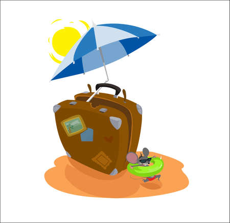 white bacground: Digital vector funny cartoon big brown travel suitcase at the beach with sun and umbrella with blue stripes, happy mouse with sunglasses and swimming circle, abstract flat style Stock Photo