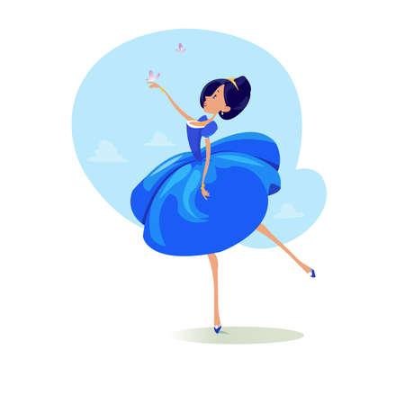 Fille de princesse de conte de fées drôle vector bande dessinée comique en robe bleue dansant avec butterflyes lors d'un bal, chaussures royales et collier, illustration dessinée, style plat réaliste abstrait Banque d'images - 81796573