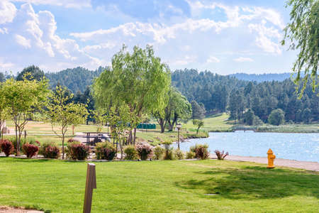 Beautiful green park with fountains and water lake. Ruidoso, New Mexico, United states of America
