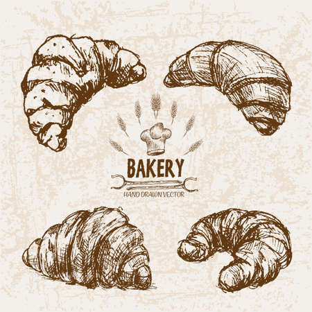 french toast: Digital vector detailed line art bakery bread and dried wheat hand drawn retro illustration collection set. Thin artistic pencil outline. Vintage ink flat, engraved mill doodle sketches. Isolated