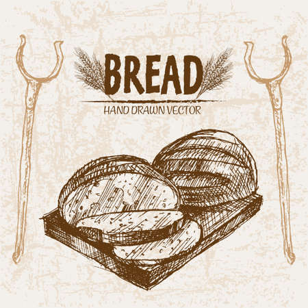 Digital vector detailed line art baked bread and dried wheat hand drawn retro illustration collection set. Thin artistic pencil outline. Vintage ink flat, engraved mill doodle sketches. Isolated  イラスト・ベクター素材