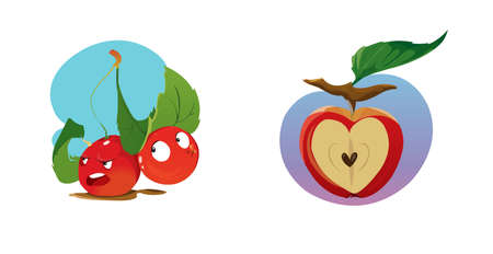 Digital vector funny cartoon growing red apple with seeds, section in shape of heart cut, green leaf, abstract flat style