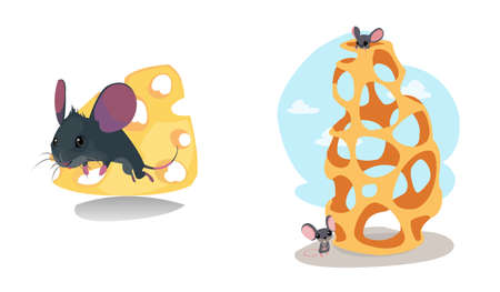 Digital vector funny cartoon cheese labyrinth with happy mice on top and at the bottom, abstract flat style Stock Photo