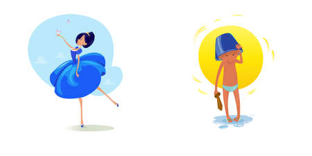Digital vector funny comic cartoon fairytale princess girl in blue dress dancing with butterflyes at a ball, royal shoes and collar, small kid with a blue buck on head, hand drawn illustration Stock Photo