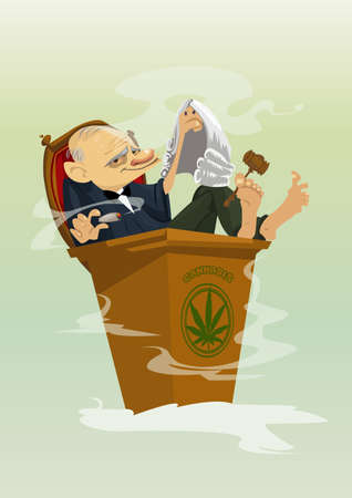 Digital vector funny comic cartoon colored judge smoking cannabis, hand drawn illustration, abstract realistic flat style Illustration