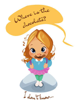 Boca divertido de la muchacha del niño de la historieta cómica del vector digital del boca llena de postre, no sé dónde está el chocolate, cara sucia, estilo plano realista abstracto Foto de archivo - 83500868