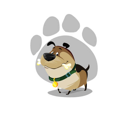 Digital vector funny comic cartoon colored happy puppy dog with a bone in mouth, foot print, green collar and golden medal, hand drawn illustration, abstract realistic flat style
