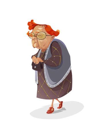 Dessin animé drôle de bande dessinée comique vieux cheveux roux insidieuse subtile grand-mère de vecteur numérique avec de grands verres tenant son sac à main et regardant vers la caméra, abstrait style plat réaliste
