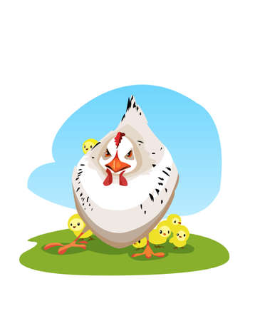 chick: Digital vector funny comic cartoon colored angry mother chicken protecting small yellow chicks, hand drawn illustration, abstract realistic flat style Illustration