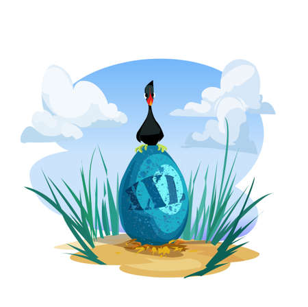 Digital vector funny comic cartoon black goose duck bird sitting on nesting a huge xxl blue egg, sand and green grass, hand drawn illustration, abstract realistic flat style
