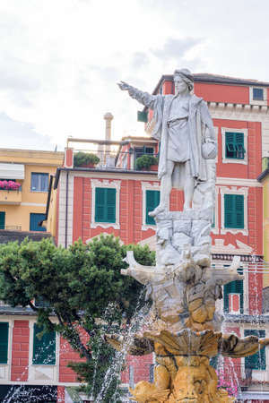 Cristoforo Colombo statue in Santa Margherita Ligure city, Italy