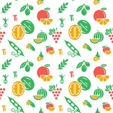Digital green yellow vegetable icons set infographics drawn simple line art pattern, onion squash pear orange apple grape carrot wallnut peas watermelon cabage, flat, organic vegetarian food Stock Illustratie