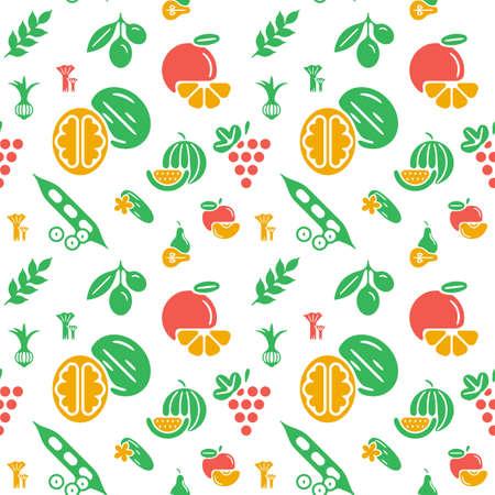 Digital green yellow vegetable icons set infographics drawn simple line art pattern, onion squash pear orange apple grape carrot wallnut peas watermelon cabage, flat, organic vegetarian food Vettoriali
