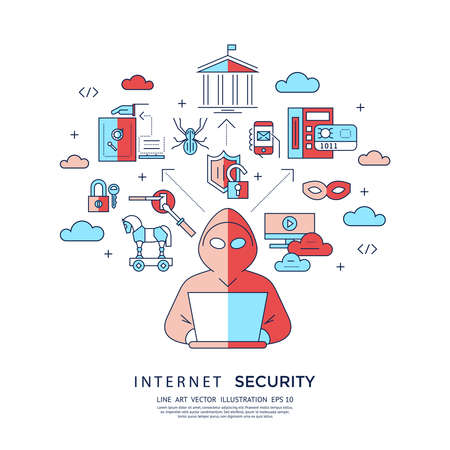 Digital vector blue internet security data protection icons set drawn simple line art info graphic poster, hacker user bug vulnerability mobile email trojan malware bank cloud spy intercept mask, flat 向量圖像