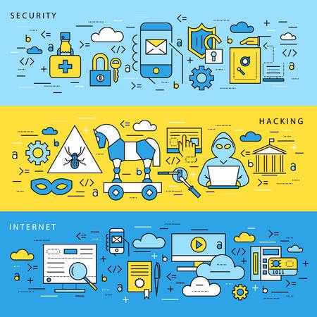 디지털 벡터 블루 인터넷 보안 데이터 보호 아이콘 세트 그려진 간단한 라인 아트 정보 그래픽 포스터, 해커 사용자 버그 취약점 모바일 이메일 트로이 일러스트