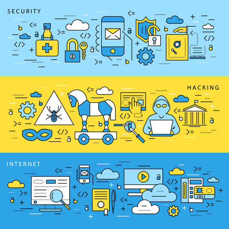 Digital vector blue internet security data protection icons set drawn simple line art info graphic poster, hacker user bug vulnerability mobile email trojan malware bank cloud spy intercept mask, flat Illustration