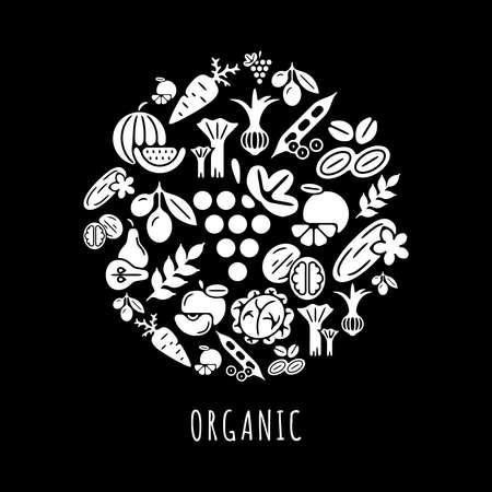 Digital black vegetable icons set infographics drawn simple line art pattern, onion squash pear orange apple grape carrot wallnut peas watermelon cabage, flat, organic vegetarian food chain