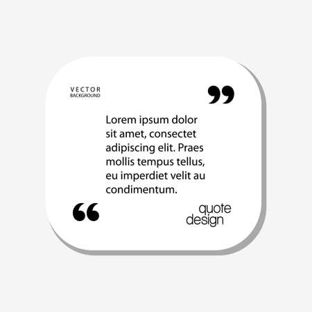 La citazione di vettore di Digital incornicia il modello in bianco del contenitore con l'icona di progettazione di informazioni della stampa, la citazione vuota, stile piano