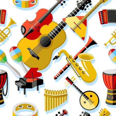 Digitale vector geel rood muziek instrumenten pictogrammen met getrokken eenvoudige lijn kunst info grafische, naadloze patroon, presentatie met gitaar, piano, drums en geluid elementen rond promo sjabloon, vlakke stijl