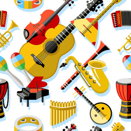 Digital vector yellow red music instruments icons with drawn simple line art info graphic, seamless pattern, presentation with guitar, piano, drums and sound elements around promo template, flat style Illustration